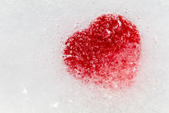 Red heart frozen in ice Royalty Free Stock Photos