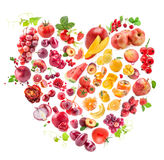 Red Heart of fruits and vegetables royalty free stock images