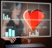 Red heart on  futuristic hologram Stock Image