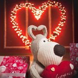 Red heart with the garland Royalty Free Stock Photos
