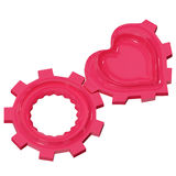 Red heart gear wheel isolated on white background Stock Image