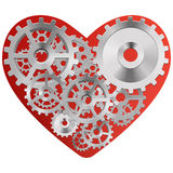 Red heart with gears. Vector drawing of a heart with a mechanism consisting of gears inside Stock Image