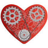 Red heart with gears. Vector drawing of a heart with a mechanism consisting of gears inside Stock Photography