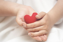 Red heart in gentle woman's hands Stock Photography