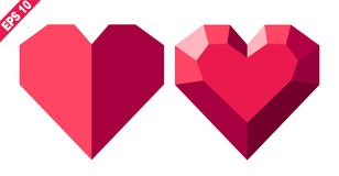 Red heart in geometric style royalty free illustration