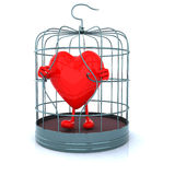 Red heart that gets out from cage. 3d illustration Royalty Free Stock Images