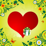 Red heart and gift Royalty Free Stock Photography