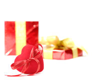 Red heart and gift box Stock Photos