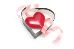 Red Heart in Gift Box Royalty Free Stock Photography