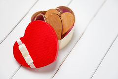 Red heart gift box, heart shape box, Stock Photo