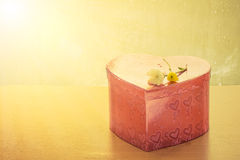 Red heart gift box Royalty Free Stock Photo