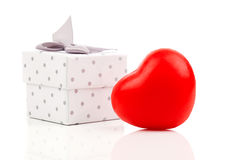 Red heart with gift box Stock Photos