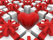 Red heart between gift boxes rows Stock Photography