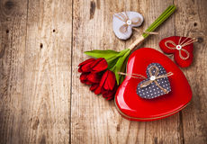 Red heart gift valentines day Stock Photos