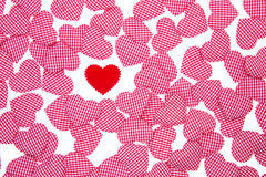 Red heart. Red Gingham and red Love heart Valentines background Royalty Free Stock Images