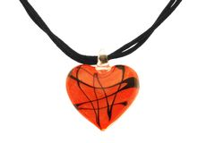 Red Heart Glass Pendant Jewelry. Large glass heart with double string necklace Stock Photos