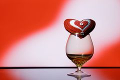 Red heart in glass Stock Images