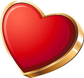 Red heart in gold Royalty Free Stock Photography