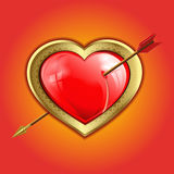 Red heart with a gold border is punched with an arrow. Volume red glare,the reflection of the Windows of the heart with a gold border is punched with an arrow Stock Photo