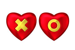 Red heart with gold cross and circle Stock Image