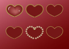 Red heart in a gold frame. Set Royalty Free Stock Image
