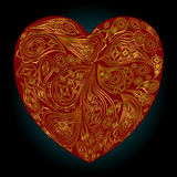 Red heart with gold Indian patterns on a black background Stock Photography