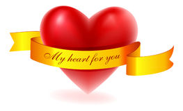 Red heart with gold ribbon Stock Photo