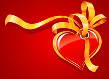 Red heart with gold ribbon greeting card Stock Photography