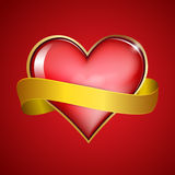Red   heart & gold ribbon Stock Images