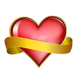 Red   heart & gold ribbon Stock Photography