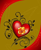 Red heart and gold rose Royalty Free Stock Photos