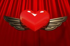 Red heart with gold wings. Red glossy heart with gold wings on a background of a curtain from red silk. A fine card at date of sacred Valentine. Render 3d images royalty free illustration