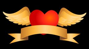 Red heart with gold wings Royalty Free Stock Photos