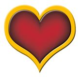 Red heart with golden border Stock Photos