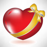 Red heart with golden bow. Single red heart with golden bow Stock Photos