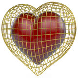 Red heart in golden cage Royalty Free Stock Image