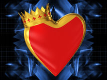 Red heart with a golden crown Stock Image