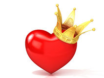 Red heart with golden crown Stock Image