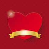 Red Heart Golden Flag Ornaments Royalty Free Stock Photos
