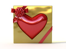 Red heart in golden gift box with ribbon and bow. Stock Image