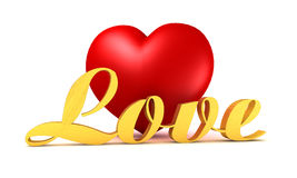 Red heart with golden inscription Stock Photo