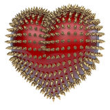 Red heart with golden, kinky style metal spikes Stock Photos