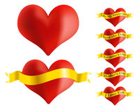 Red Heart With Golden Ribbon. Illustration - Set of Red Heart Icons With Golden Ribbon stock illustration