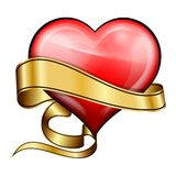Red heart with golden ribbon Stock Image