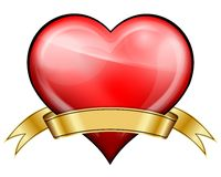Red heart with golden ribbon Stock Photography