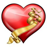 Red heart with golden ribbon Royalty Free Stock Photography