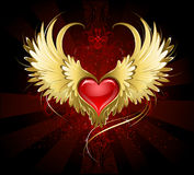 Red heart with golden wings. Bright red heart of an angel with golden wings shining in the dark radiant red background decorated with a pattern Stock Images