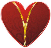 Red heart with golden zipper Royalty Free Stock Image