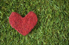Red heart on grass Stock Photo