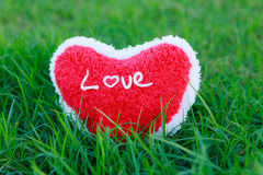 Red Heart on grass. Green stock images